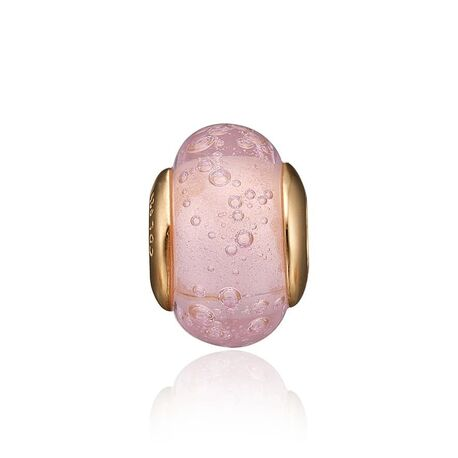 Christina vergulde charms met roze glas met bubbels