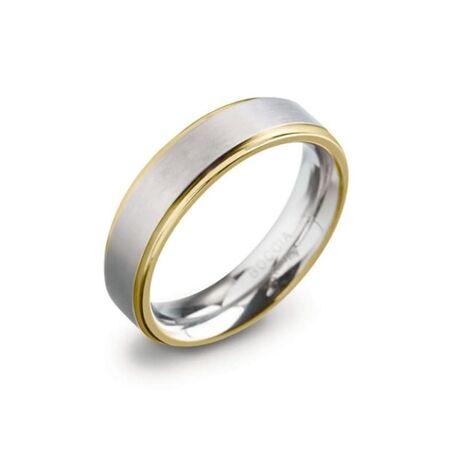 Boccia Bicolor ring met vergulde rand 0134-05