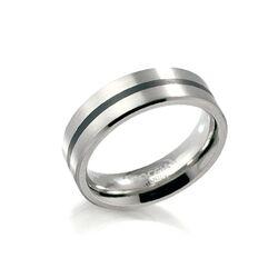 Boccia Titanium ring met zwart emaille lijn 0101-14