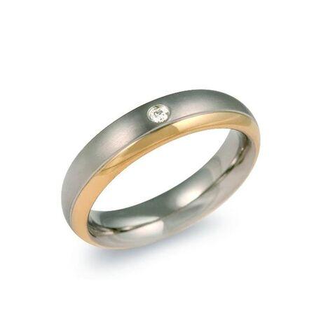 Boccia Titanium bicolor ring bezet met diamantje