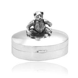 Zilveren doosje ovaal met beweegbare beer