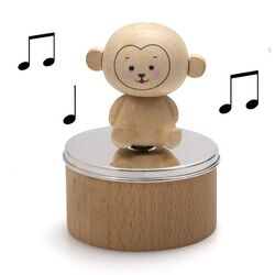 Muziekdoos aap hout met zilver