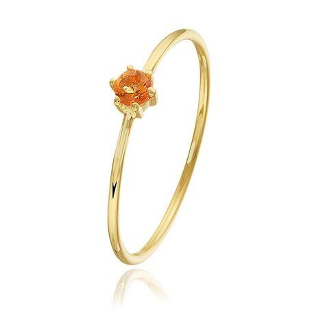 Geelgouden ring bezet met citrien