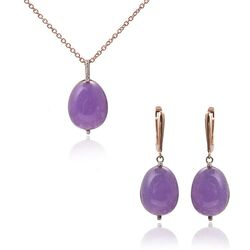 Tatiana Fabergé rosé set paars jade oorbellen en hanger