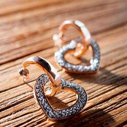 Adami & Martucci bicolor set oorbellen en hanger hart mesh
