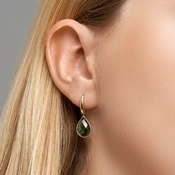 Geelgouden oorhangers groen toermalijn