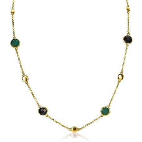 Zinzi verguld zilveren collier zwart en groen ZIC1869