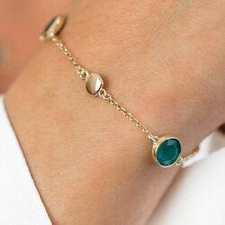 Zinzi verguld zilveren armband zwart groen ZIA1869