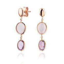 Roségouden oorhangers roze kwarts en amethist