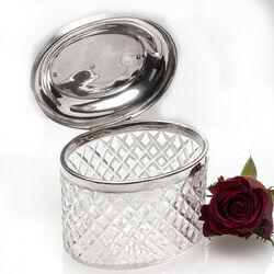 Antieke kristallen theebus zilveren deksel