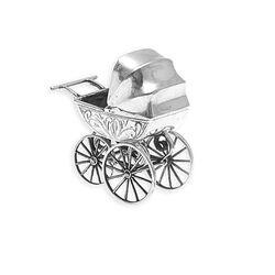 Zilveren kinderwagen miniatuur zilver bij Zilver.nl