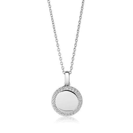 Sif Jakobs zilveren ronde hanger Follina wit zirkonia P3780