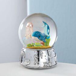 Muziekdoos zeedieren sneeuwbol verzilverd
