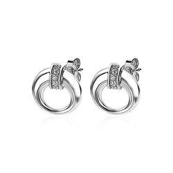 Zinzi zilveren ronde oorstekers met zirkonia ZIO1865