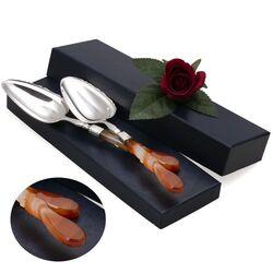 Zilveren pasteischeppen met agaat Biedermeier