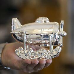 Spaarpot watervliegtuig verzilverd
