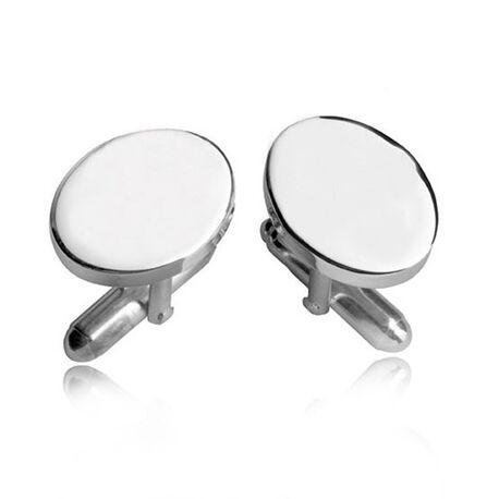 Zilveren manchetknopen ovaal van Carrs