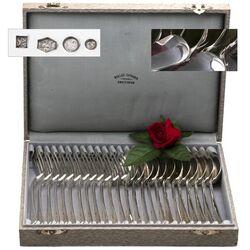 12 Persoons zilveren couverts dinerbestek Haags lofje