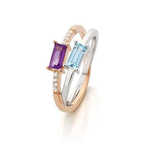 Bicolor gouden ring met topaas en amethist
