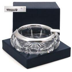 Asbak kristal met zilver