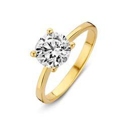 Geelgouden ring bezet met een grote zirkonia