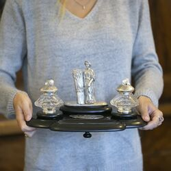 groot antiek zilver inktstel