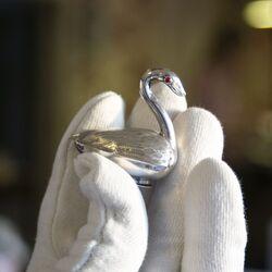 antieke zilveren vinaigrette geurdoosje zwaan