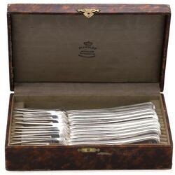 12 Zilveren dinervorken dubbelrondfilet 1927
