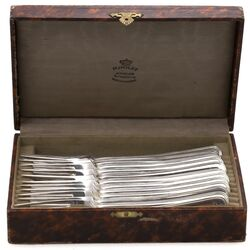 12 grote vorken dubbelrond filet zilver 1927
