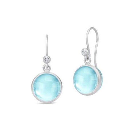 Julie Sandlau zilveren oorhangers licht blauw