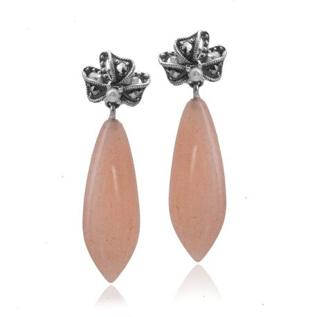 Zilveren markasiet oorstekers met roze quartz