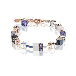 Coeur de Lion armband roséverguld wit en paars