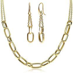 Zinzi verguld zilveren sieradenset ovale vormen