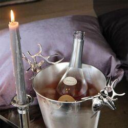 Zilveren wijnkoeler met hertenkoppen