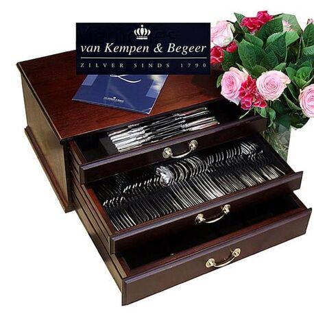 Zilveren 12 persoons cassette Hollands glad Van Kempen