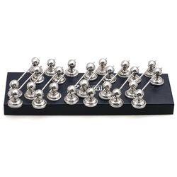 12 Messenleggers zilver met parelrand