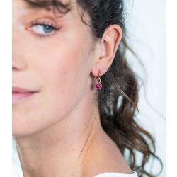 Zilveren oorbedels rosé verguld donkerrood