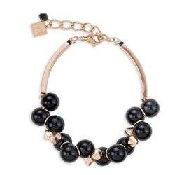 Rosé armband zwarte bollen Coeur de Lion 4937-30-1300
