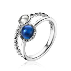 Zilveren multi-look ring blauw wit ZIR1963