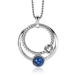 Zilveren hanger ronde cirkels blauw 32 mm