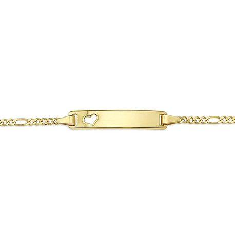 Gouden naamplaat armband 16-18 cm figaro schakel