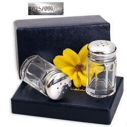 juweliersrestant: peper en zoutstelletje zilveren dopjes