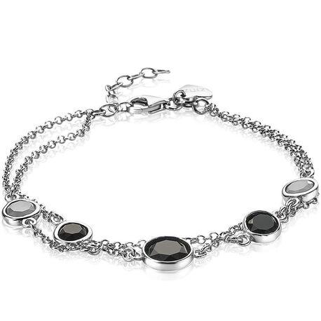 Zinzi zilveren armband zwart wit ZIA1937