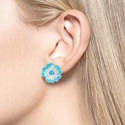 Nicolle Barr licht blauwe zilveren bloem oorstekers topaas
