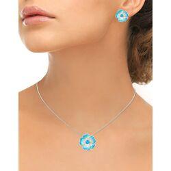 Nicole Barr zilveren bloemhanger licht blauw emaille met topaas