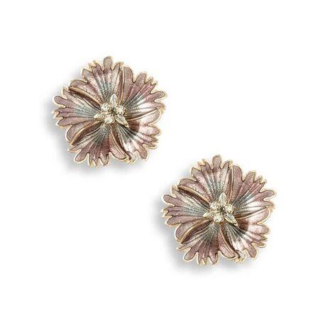 Nicole Barr rosé oorstekers bloem paars emaill saffier