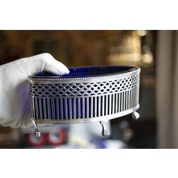 zilveren jardiniere blauw glas van kempen