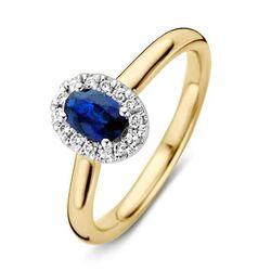 RG415615 gouden ring saffier briljant entouragering