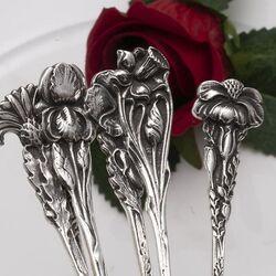 Zilveren gebaksvorken bloem grote maat Zaanse Zilversmederij