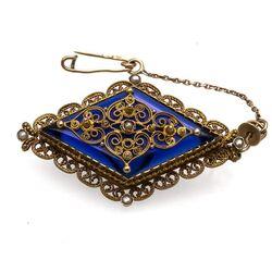 Antieke gouden broche blauw glas en pareltjes